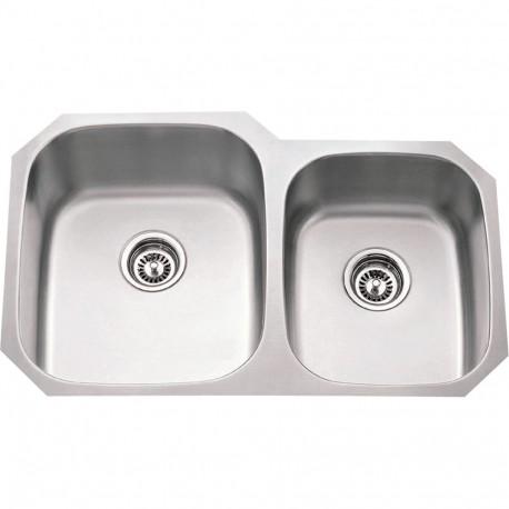 Hardware Resources 16 Gauge 60 40 Stainless Steel 801l Undermount Sink W Larger Left Bowl