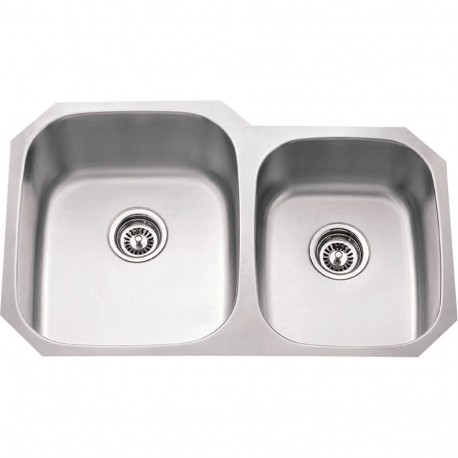 Hardware Resources 16 Gauge 60/40 Stainless Steel 801L Undermount Sink w/ Larger Left Bowl