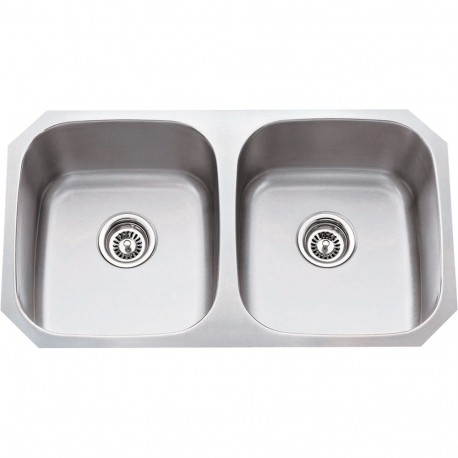 Hardware Resources 802 Series 304 Stainless Steel (16 Gauge) Undermount Kitchen Sink with Two Equal Bowls