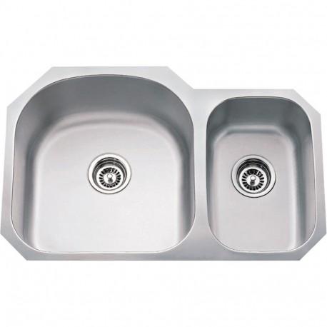 Hardware Resources 18 Gauge 70/30 Stainless Steel 807L Undermount Sink larger left bowl