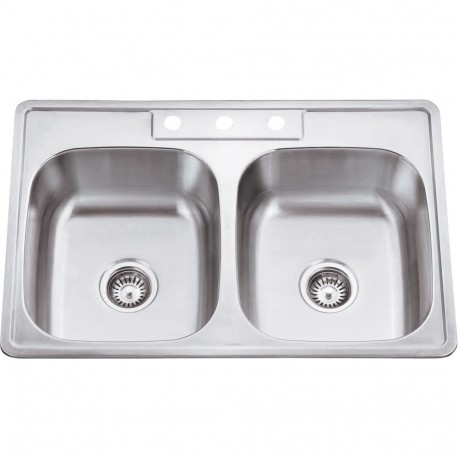 Hardware Resources 910-1 Stainless Steel (20 Gauge) Drop In Kitchen Sink with Two Equal Bowls