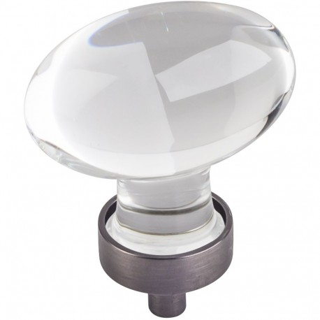 "Jeffrey Alexander G110L Harlow 1 5/8"" Glass Football Cabinet Knob"