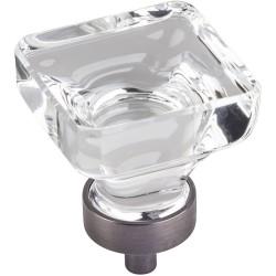 "Jeffrey Alexander G140L Harlow 1 3/8"" Glass Square Cabinet Knob"