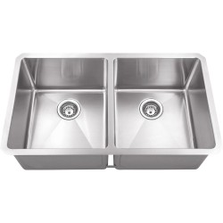 Hardware Resources HMS250 Stainless Steel (16 Gauge) Fabricated Kitchen Sink with Two Equal Bowls