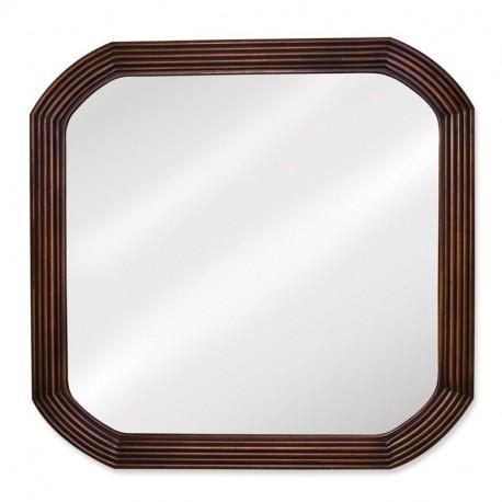 "Elements MIR025 Tesla 26"" x 26"" Walnut Reed Frame Mirror with Beveled Glass"