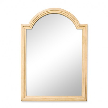 Elements MIR028 Compton Elements Buttercream Reed Frame Mirror with Beveled Glass