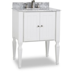"""Elements VAN059-T-MW Jensen Bath Elements 28"""" Vanity with White Finish and Preassembled Top and Bowl"""