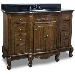 """Elements VAN062-48 Clairemont Bath Elements 50 1/4"""" Vanity with Nutmeg Finish, Floral Onlays, French Scrolled Legs"""