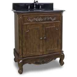 """Elements VAN062 Clairemont Bath Elements Vanity with Nutmeg Finish, Carved Onlays, French Scrolled Legs (for 30-1/2"""" Top)"""