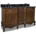 "Elements VAN062D-60 Clairemont Bath Elements Double Vanity with Nutmeg Finish, Carved Floral Onlays, French Scrolled Legs (for 60-7/8"" Top)"