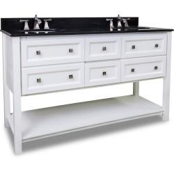 "Elements VAN066D-60 Adler Bath Elements Double Vanity with Sleek White Finish (for 60"" Top)"