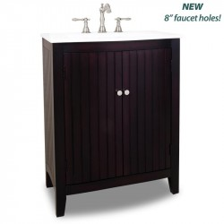 "Elements VAN068-T-PW Dalton Bath Elements 28 1/8"" Espresso Vanity with One Piece Integrated Top and Bowl"