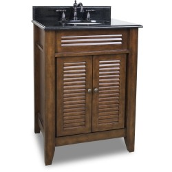 "Elements VAN078 Lindley Bath Elements 26 1/2"" Nutmeg Vanity with Louvered Doors, Preassembled Top and Bowl"