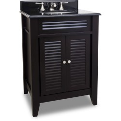 "Elements VAN079 Lindley Bath Elements 26 1/2"" Espresso Vanity with Louvered Doors, Preassembled Top and Bowl"