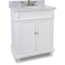 "Elements VAN094-30 Douglas Elements White Vanity with Sleek White Finish, Tapered Feet (for 30"" Top)"