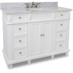 "Elements VAN094-48 Douglas Elements White Vanity with Sleek White Finish, Tapered Feet (for 48"" Top)"