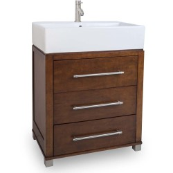 "Briggs Jeffrey Alexander 28"" Vanity with Chocolate Finish, Oversized Vessel / Bowl Top and 3 Drawers"