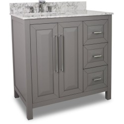 "Jeffrey Alexander VAN100-36 Cade Contempo Vanity with Grey Finish and Leading Edge Design (for 36"" Top)"