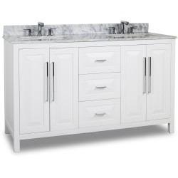 "Jeffrey Alexander 104D-60 Cade Contempo Double Vanity with Sleek Finish and Leading Edge Design (for 60"" Top)"