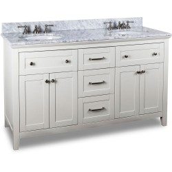 "Chatham Shaker Jeffrey Alexander White Double Vanity with Shaker Design (for 60"" Top)"