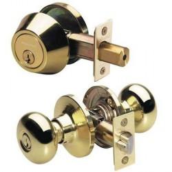 Master Lock Grade 3 Single Cylinder Deadbolt + Biscuit Knob Combo Pack PB