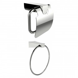 American Imagination AI-13335 Chrome Plated Towel Ring With Toilet Paper Holder Accessory Set:divider_comma:Rectangle