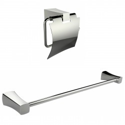 American Imaginations AI-13327 Chrome Plated Toilet Paper Holder With Single Rod Towel Rack Accessory Set