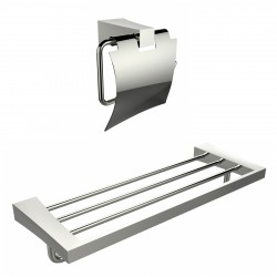American Imaginations AI-13330 Multi-Rod Towel Rack With A Chrome Plated Toilet Paper Holder Accessory Set