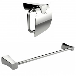 American Imaginations AI-13337 Chrome Plated Toilet Paper Holder With Single Rod Towel Rack Accessory Set