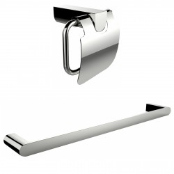 American Imaginations AI-13341 Chrome Plated Toilet Paper Holder With A Single Rod Towel Rack Accessory Set
