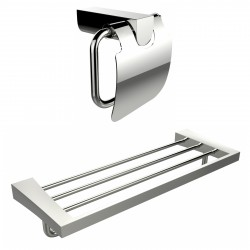 American Imaginations AI-13340 Chrome Plated Toilet Paper Holder With Multi-Rod Towel Rack Accessory Set