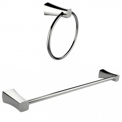 American Imaginations AI-13346 Chrome Plated Towel Ring With Single Rod Towel Rack Accessory Set
