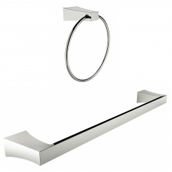 American Imaginations AI-13356 Chrome Plated Towel Ring With Single Rod Towel Rack Accessory Set