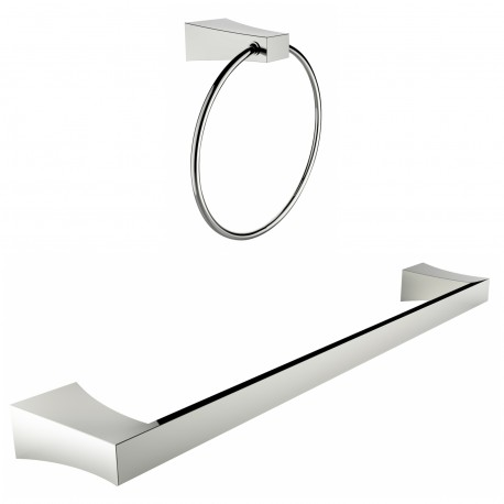 American Imagination AI-13356 Chrome Plated Towel Ring With Single Rod Towel Rack Accessory Set:divider_comma:Round