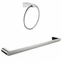 American Imaginations AI-13358 Chrome Plated Towel Ring With Single Rod Towel Rack Accessory Set