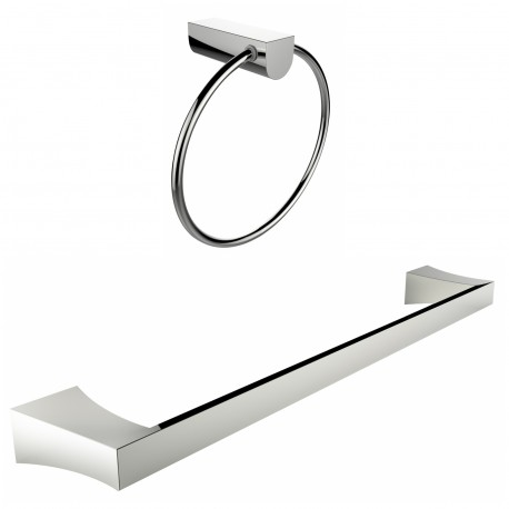American Imagination AI-13363 Chrome Plated Towel Ring With Single Rod Towel Rack Accessory Set:divider_comma:Round