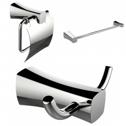 American Imaginations AI-13418 Robe Hook, Toilet Paper Holder And Single Rod Towel Rack Accessory Set