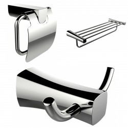 American Imaginations AI-13438 Robe Hook, Multi-Rod Towel Rack And Toilet Paper Holder Accessory Set
