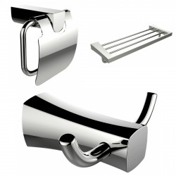 American Imaginations AI-13440 Robe Hook, Multi-Rod Towel Rack And Toilet Paper Holder Accessory Set
