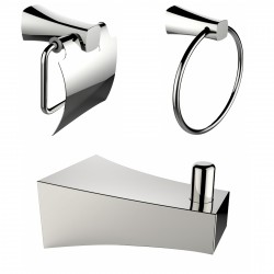 American Imaginations AI-13493 Chrome Plated Robe Hook With Towel Ring And Toilet Paper Holder Accessory Set