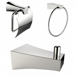 American Imaginations AI-13494 Chrome Plated Robe Hook With Towel Ring And Toilet Paper Holder Accessory Set