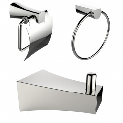 American Imaginations AI-13495 Chrome Plated Robe Hook With Towel Ring And Toilet Paper Holder Accessory Set