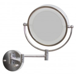 American Imaginations AI-557 20.83-in. W Round Brass-LED Wall Mount Magnifying Mirror In Chrome Color
