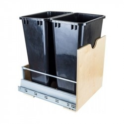 "Hardware Resources Preassembled 50 Quart Double Pullout Waste Container System Featuring 21"" Undermount System"