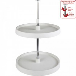 Hardware Resources Round Plastic Lazy Susan Set w/ Twist and Lock Adjustable Pole