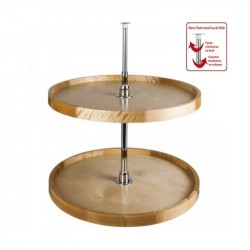 Hardware Resources Round Wood Lazy Susan Set with Twist and Lock Pole