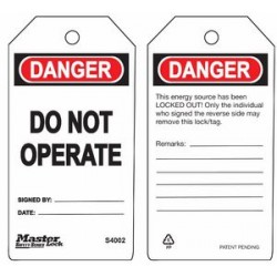 Master Lock S4002 Guardian Extreme Danger Tag - Do Not Operate