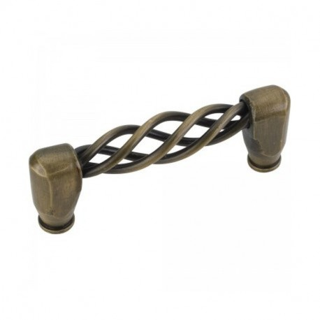 "Zurich 3 9/16"" Overall Length Twisted Iron Cabinet Pull"