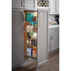 "Hardware Resources 15"" Chrome Pantry Pullout with Soft-close Slides"