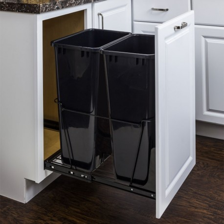 Hardware Resource CAN Double Pullout Waste Container System (50-Quart)